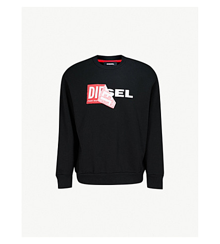 DIESEL S-Samy printed cotton-jersey sweatshirt (Black