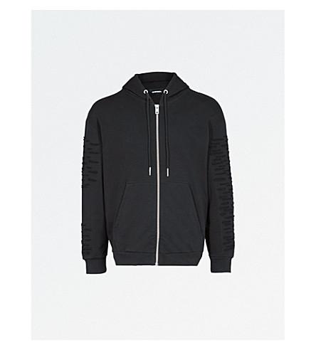 DIESEL S-Stitch distressed cotton-jersey hoody (Black
