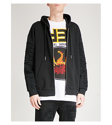 DIESEL S-Stitch distressed cotton-jersey hoody (Black