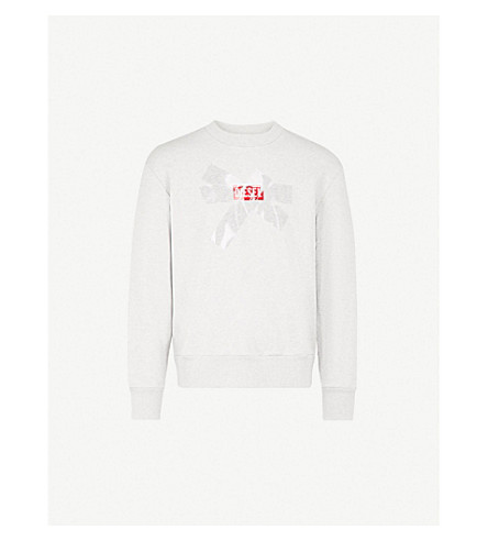 DIESEL S-Baysa cotton-jersey sweatshirt (Light+grey+melange