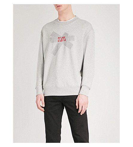 DIESEL S-Baysa cotton-jersey sweatshirt (Light+grey+melange