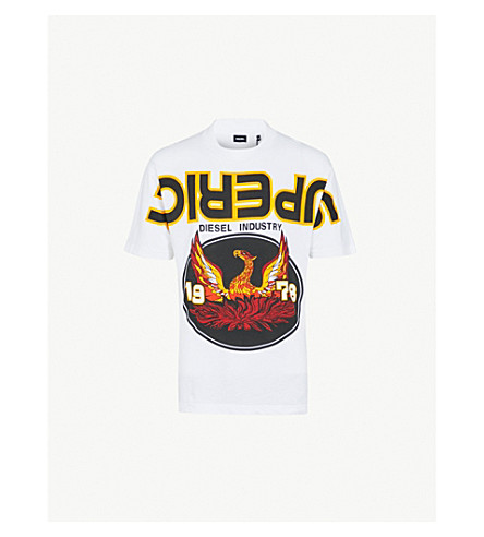 DIESEL T-Lucas-Ab printed cotton-jersey T-shirt (Bright+white