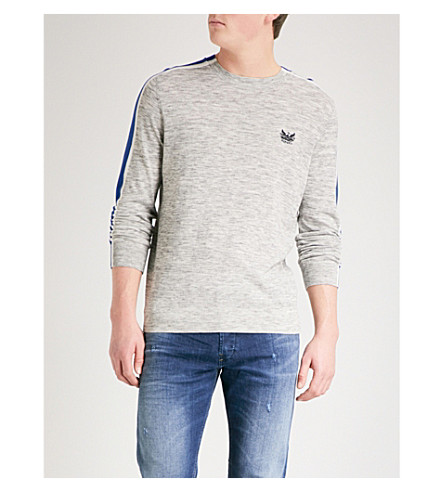 DIESEL K-Tape knitted cotton-blend jumper (Light+grey+melange