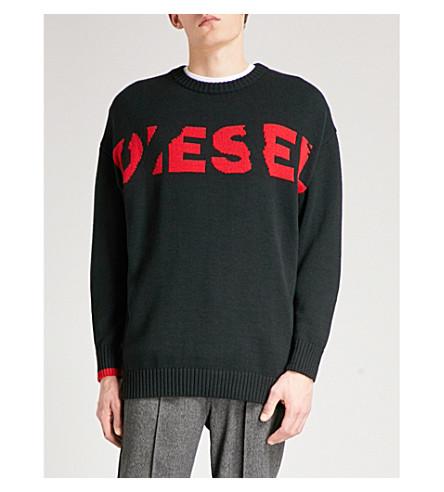 DIESEL K-Logox logo-motif wool-blend jumper (Black