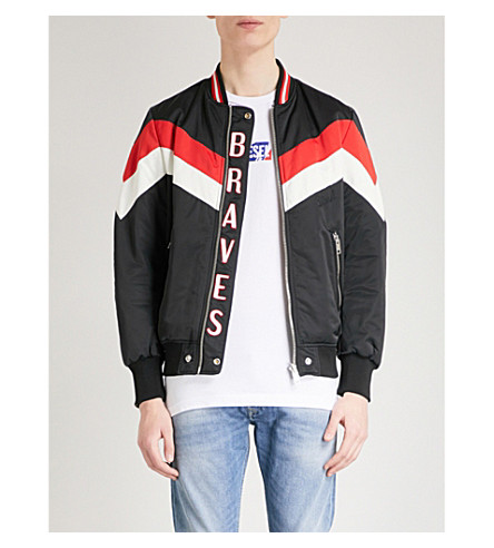 DIESEL Colour-blocked reversible shell bomber jacket (Black