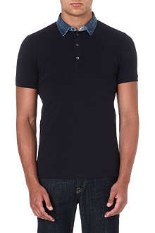 DIESEL Denim-collar polo shirt