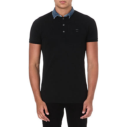 DIESEL Denim-collar polo shirt (Black