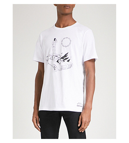 DIESEL T-Just printed cotton-jersey T-shirt (Bright+white