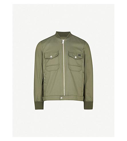 DIESEL Ribbed-trim cotton-blend twill jacket (Olive+night