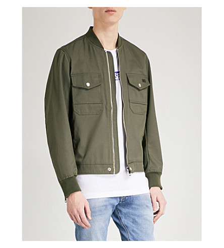 DIESEL Ribbed-trim cotton-blend twill jacket (Olive+night