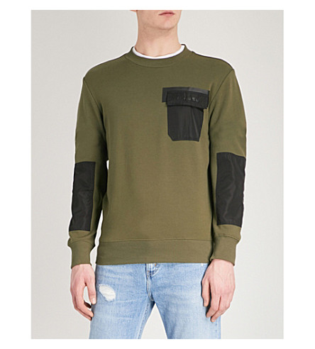 DIESEL S-Crome cotton-jersey sweatshirt (Olive+night