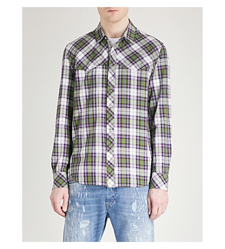 DIESEL S-Plany regular-fit checked cotton shirt (Cedar+green