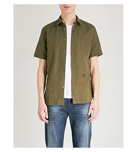 DIESEL Svenetianlin regular-fit cotton and linen-blend shirt (Olive+night
