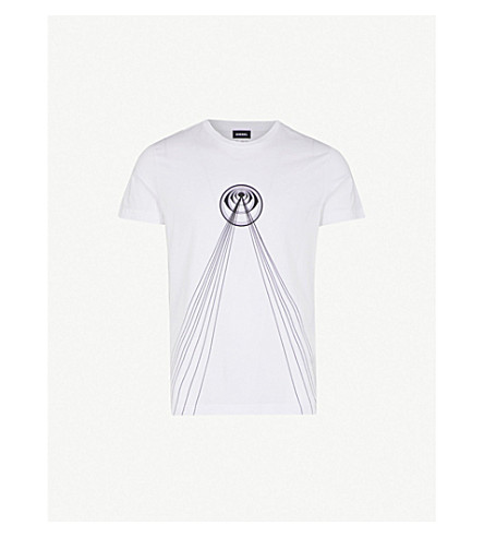 DIESEL T-diego-tb printed cotton-jersey T-shirt (Bright+white
