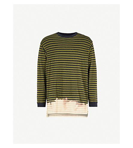 DIESEL T-Halo striped cotton-jersey top (Cedar+green