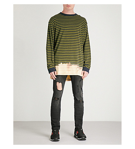 DIESEL T-Halo striped cotton-jersey top (Cedar+green