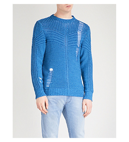DIESEL K-Cage distressed knitted jumper (Imperial+blue