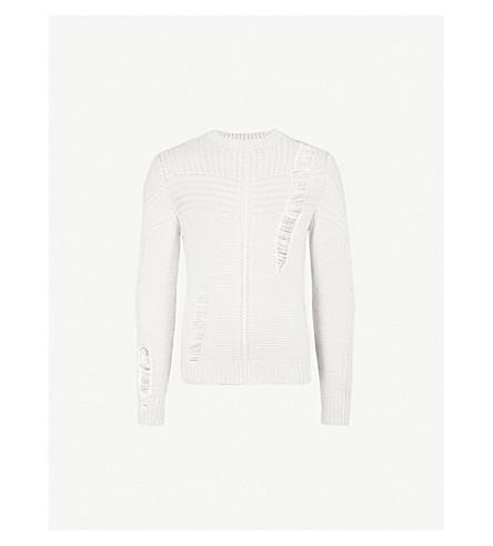 DIESEL K-Cage distressed knitted jumper (Light+grey+melange