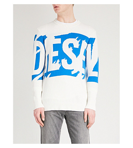 DIESEL Logo-detail cotton-knitted jumper (Vapourous+gray