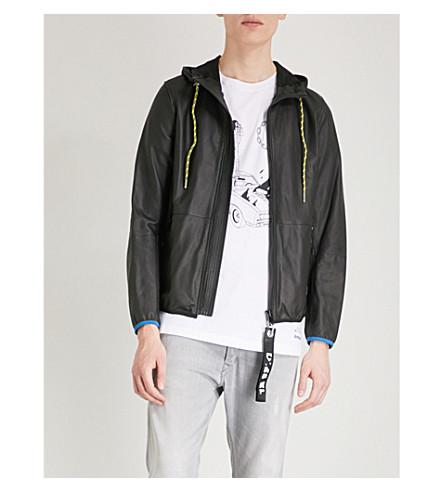 DIESEL L-wind contrast-binding leather jacket (Black