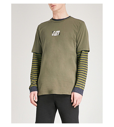 DIESEL Logo-print cotton-jersey T-shirt (Olive+night