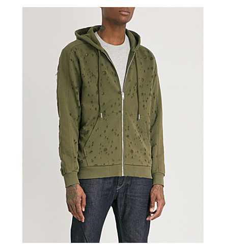 DIESEL S-Lesik distressed cotton-blend hoody (Olive+night