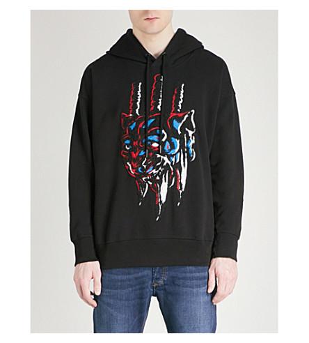 DIESEL S-Alby-Hood-A printed cotton-jersey hoody (Black
