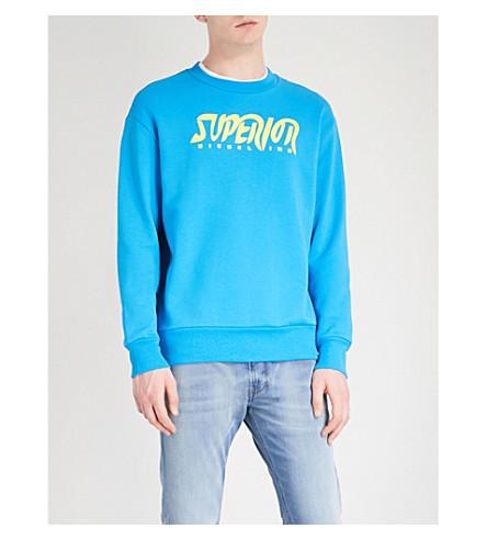 DIESEL Superior-print cotton sweatshirt (Diva+blue