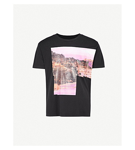 DIESEL Mountain-print cotton T-shirt (Black