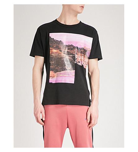 DIESEL Camiseta Negro estampado de montañés algodón con rrgfxTa