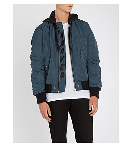 DIESEL J-dub psychedelic-print shell and cotton-jersey hooded bomber jacket (Navy