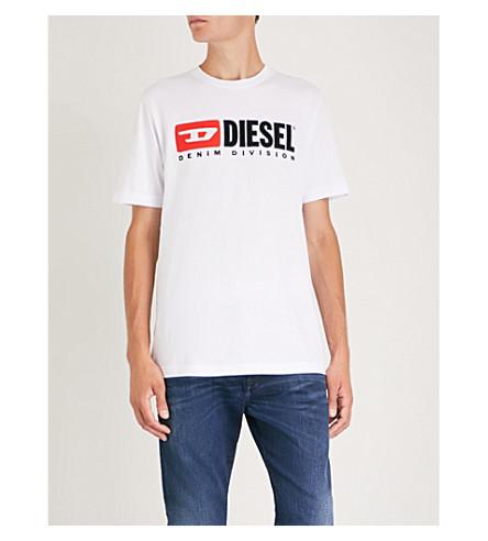 DIESEL 印刷平纹针织棉 T 恤 (亮 + 白)