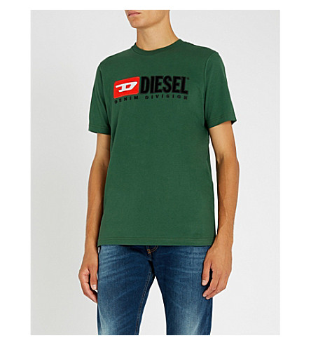 DIESEL T-Just printed cotton-jersey T-shirt (Dark+green