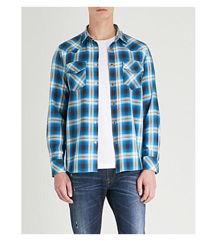 DIESEL s-东格子常规版型棉衬衫 (蓝色