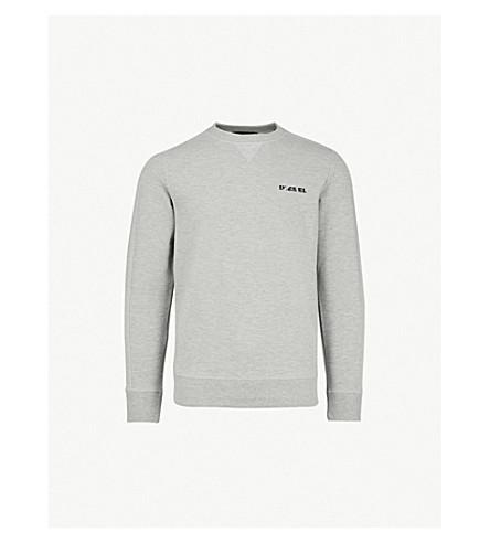 DIESEL S-Tina logo-embroidered cotton crewneck jumper (Light+grey+melange