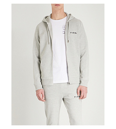 DIESEL S-Gina cotton-jersey hoody (Light+grey+melange