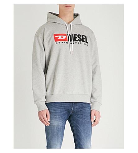 DIESEL S-Division cotton-jersey hoodie (Light+grey+melange