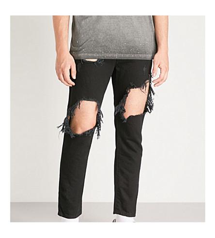 DIESEL Mharky 极端撕裂的牛仔裤 (黑色
