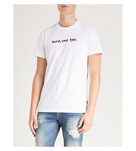 cotton Slogan embroidered white T shirt DIESEL Bright T Diego WI jersey qpwqHBXx