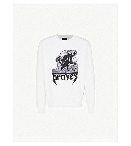 DIESEL S-Bay-WA cotton sweatshirt (Bright+white