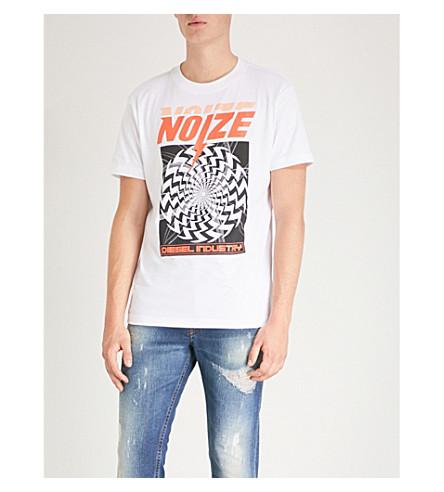 DIESEL T-华莱士世界银行图形打印平纹针织棉 T 恤 (亮 + 白