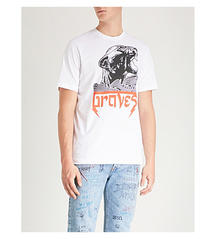 DIESEL 平纹针织棉 T 恤打印 (亮 + 白)