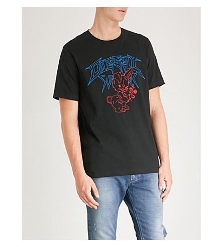 DIESEL T-Just-W1 图形打印平纹针织棉 T 恤 (黑色
