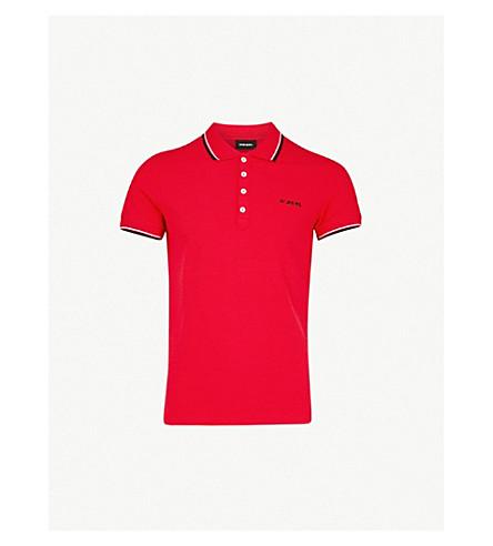 DIESEL T 兰迪条纹修剪棉质 Polo 衫 (赛跑 + 红色