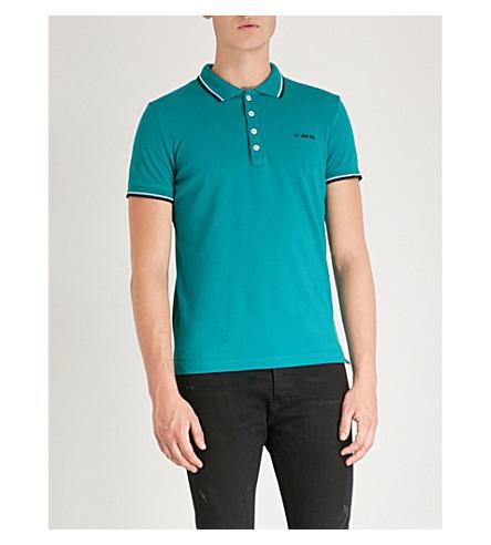 DIESEL T-Randy-Broken cotton polo shirt (Teal+green