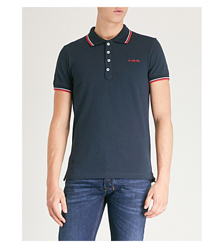 DIESEL T-Randy-Broken cotton-jersey polo shirt (Total+eclipse