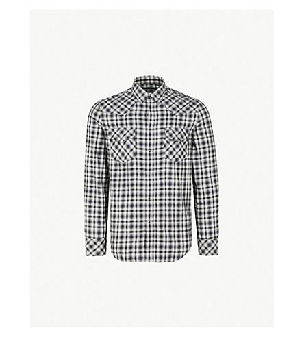 DIESEL s-东格纹常规版型棉衬衫 (Vapourous + 灰色
