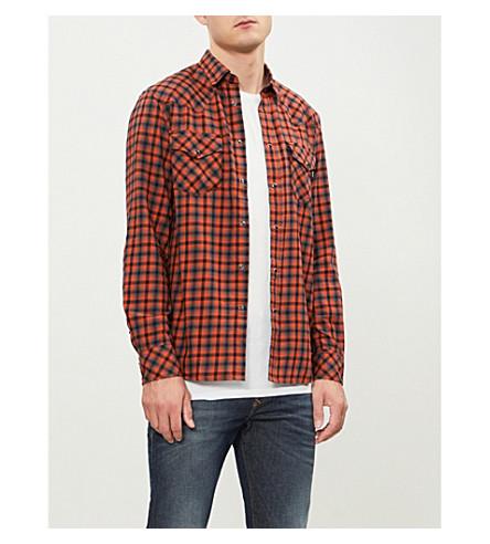 DIESEL S-East checked regular-fit cotton shirt (Harvest+pumpkin
