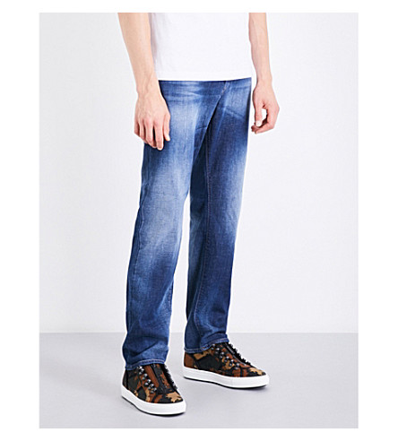 DIESEL Thytan comfort-fit straight mid-rise jeans (Medium+wash+blue