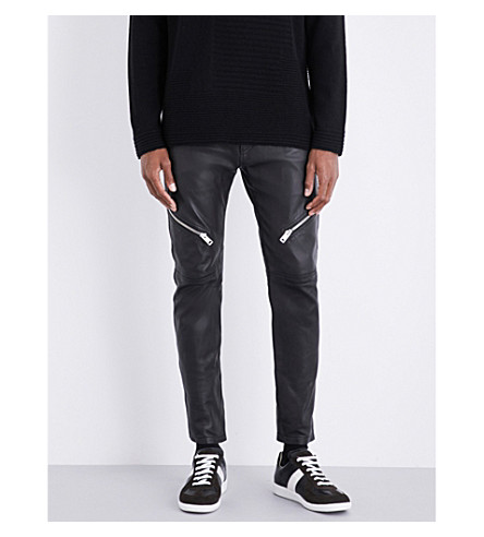 DIESEL P-Yardy tapered leather trousers (Black